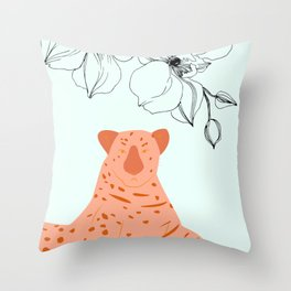 Tigress Minimal Floral Jungle Print Throw Pillow