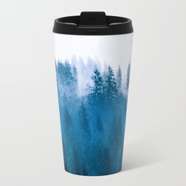 Blue Winter Day Foggy Trees Travel Mug