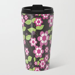 Graphic flowers: Britannia Flowers (black, pink and green) Travel Mug