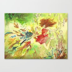 a girl and fish Canvas Print