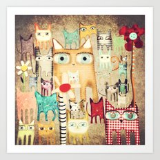 Bunch of Cats Art Print