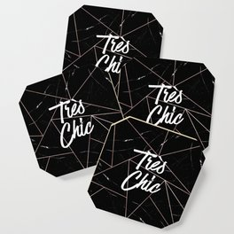 Tres Chic Black Geometric Marble Gold Triangles Coaster