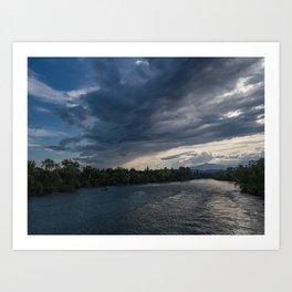 Sunset Over Sacramento River Near Redding California Art Print
