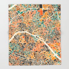 Paris mosaic map #2 Throw Blanket
