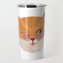 Cat Lover Kitten Summer Sunglasses Feline Gift Travel Mug