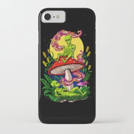 Aliens Magic Mushrooms Smoking Psychedelics iPhone Case