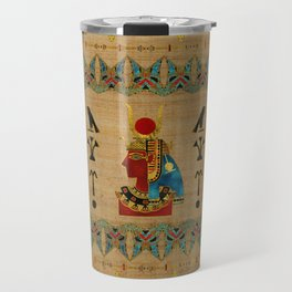 Hathor Egyptian Ornament on papyrus Travel Mug