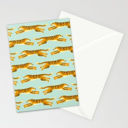 leaping tigers- mint Stationery Cards