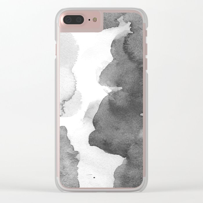 Charcoal (Watercolor blends) Clear iPhone Case