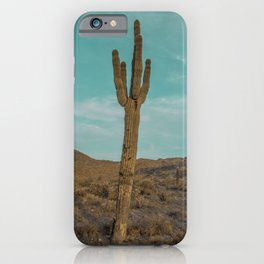 Saguaro // Desert Landscape Photography Arizona Teal Blue Sky National Park Cactus Vibes iPhone Case