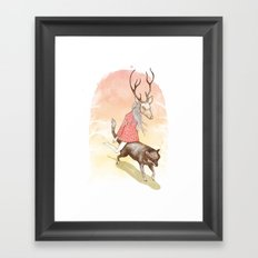 wolf and dear Framed Art Print