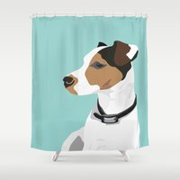 jack russell Shower Curtains featuring Dog - Jack Russell by bluebutton studio