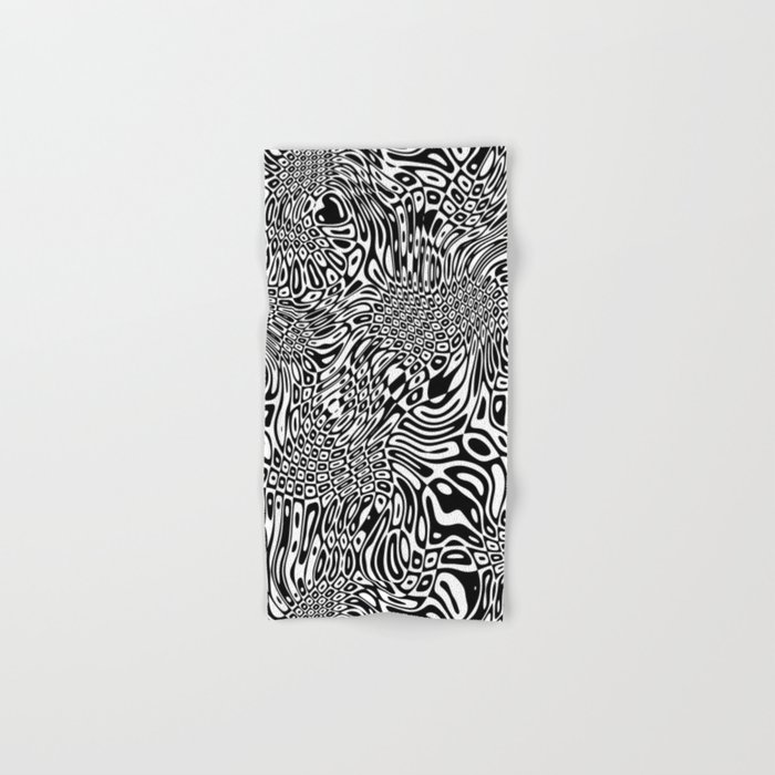 Black  and white psychedelic optical illusion Hand & Bath Towel