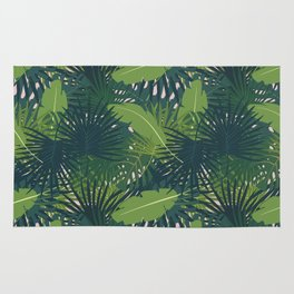 Abstract digital seamless pattern flat background with colorful palm leaves greenery Rug