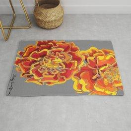 Marigold in Burnt Orange and Grey by Hxlxynxchxle Rug