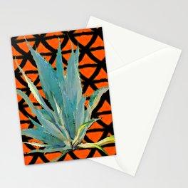 CUMIN ORANGE BLUE DESERT AGAVE CACTI ART Stationery Cards