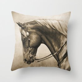 Western Quarter Horse Old Photo Effect Throw Pillow