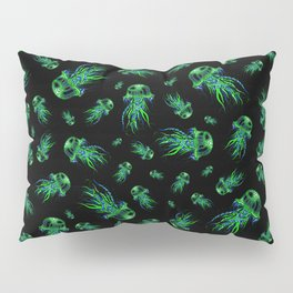 Green Jellyfish Pattern | Colorful Art | Blue and Green | Black background Pillow Sham