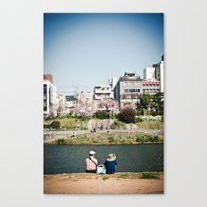 By the Kamogawa in Spring, Kyoto Canvas Print