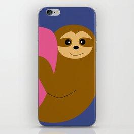 Sloth in love blue iPhone Skin