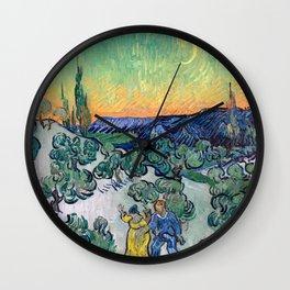 Couple Walking among Olive Trees, Vincent Van Gogh Wall Clock