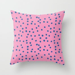 Polka Dots - pink and blue Throw Pillow