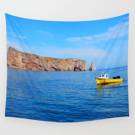 The Rock and the Yellow Boat Wall Tapestry