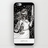 tarot iPhone & iPod Skins featuring Justice Tarot by Corinne Elyse