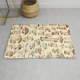 Trippy Vintage Mushroom Chart // Champignons by Adolphe Millot XL 19th Century Science Artwork Rug