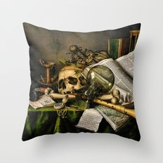 Vintage Vanitas- Still Life with Skull Throw Pillow