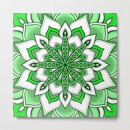 Mandala Flower : Green  Metal Print