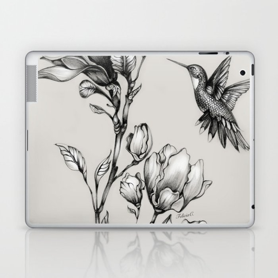 Magnolia Flower and Hummingbird Laptop & iPad Skin