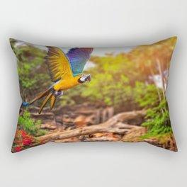 Magnificent Gracious Colorful Ara Parrot Flying Tropic Rain Forest Close Up Ultra HD Rectangular Pillow