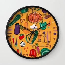 fall veggies yellow Wall Clock