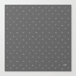 SMALL ANIMALS PATTERN in shades of grey Canvas Print