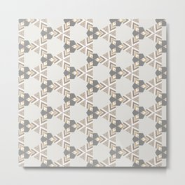 Neutral Grey Taupe Triange Pattern Design Metal Print