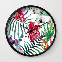 Tropical Watercolor Floral Wall Clock