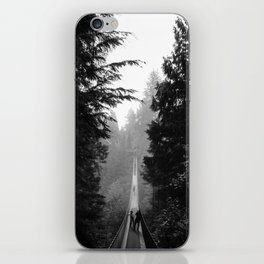 misty capilano suspension bridge iPhone Skin