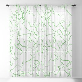 Squiggly lines, green Sheer Curtain