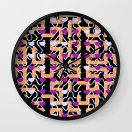 Magenta Dollops Orange Grid Pattern Wall Clock