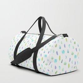 Green Violet Tropical Leaf on White. Watercolor Floral Doodles Pattern Duffle Bag