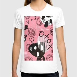Pink Graffiti Love, bedroom wall art, art prints, long canvas, black & white T-shirt