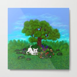 Easter - Spring-awakening - Puppy Capo and Butterfly Metal Print