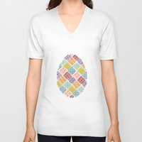 egg V-neck T-shirts featuring Egg by milkingsquids