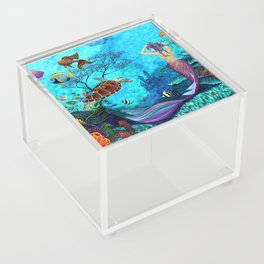 A Fish of a Different Color - Mermaid and seaturtle Acrylic Box