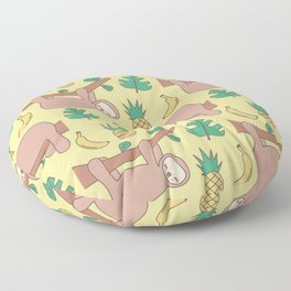 cute cartoon sloth seamless pattern background with exotic leaves, pineapples and bananas Floor Pillow