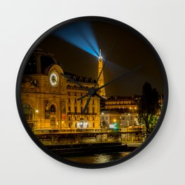 Musee d'Orsay in Paris at night Wall Clock