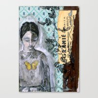 book cover Canvas Prints featuring Vintage Book Cover Girl by Jeanne Oliver