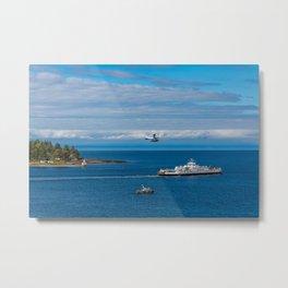 Harbor Patrol Sea Plane and Ferry Metal Print