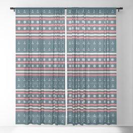 Ships Ahoy Blue/Red Stripe Sheer Curtain